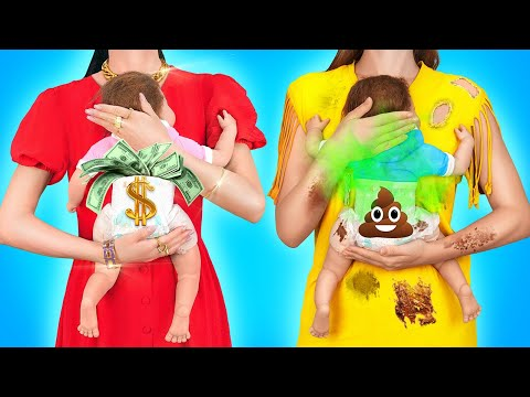 RICH PREGNANT VS BROKE PREGNANT    Cool Pregnancy Moments And Situations by 123 GO!